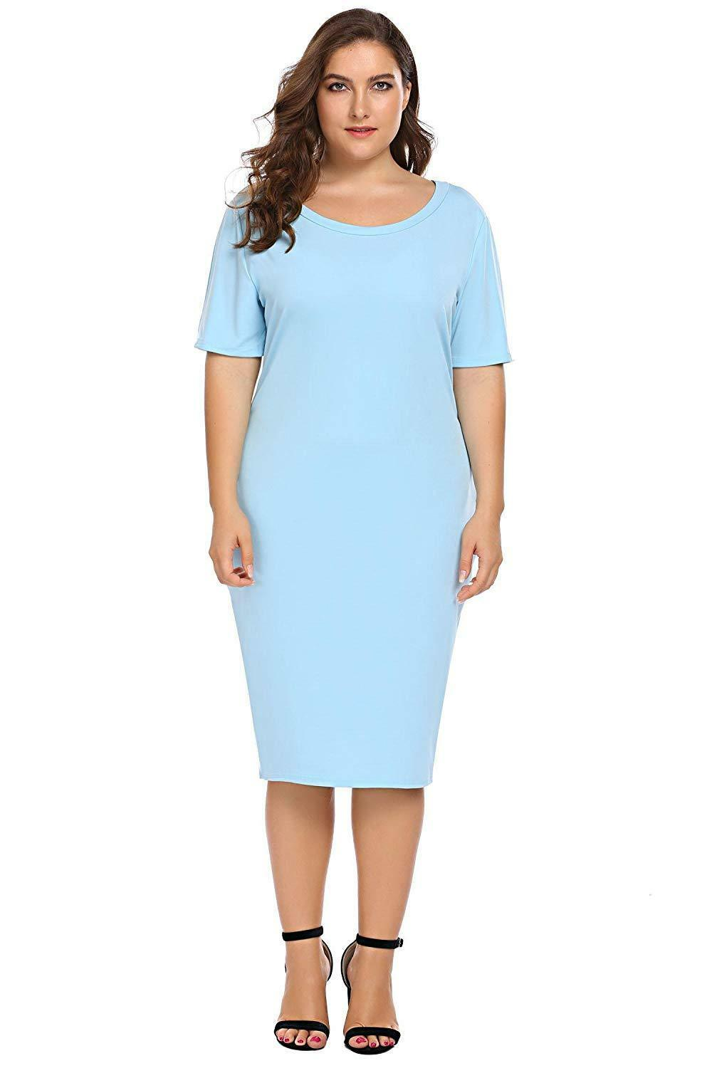 Zeagoo Women Plus Size Loose Fit Short Sleeve O-Neck Casual Midi Dress image 2