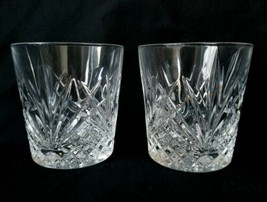 2 Cut Crystal Double Old Fashioned Glasses Intersecting Fan Cuts Great H... - $46.50
