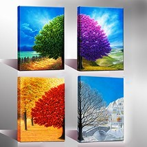 Wieco Art Four Change Seasons Trees Canvas Prints Wall Art by Oil Painti... - $41.99