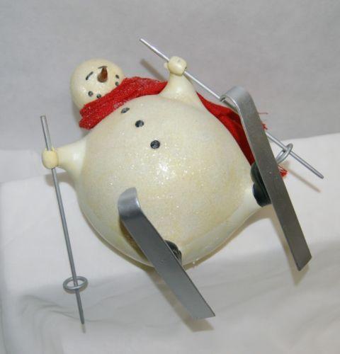 Fantastic Crafts FR6412 Fallen Skiing Snowman 7 Inches Figurine