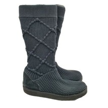 UGG Classic Argyle Knit Sweater Knee High Boots Womens Size 10 5879 Black - $79.19
