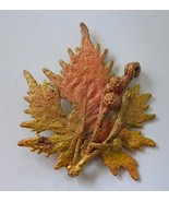 Vintage Maple Leaf Berries Brooch Pin Real Dipped Mixed Metals Gold Copper - $24.74