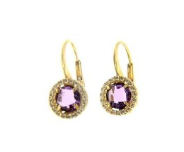 18K YELLOW GOLD LEVERBACK EARRINGS CUSHION PURPLE AMETHYST CUBIC ZIRCONIA FRAME image 1