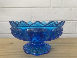 Vintage Blue Glass Hobnail Candle Bowl Holder Patent Pending - $15.50