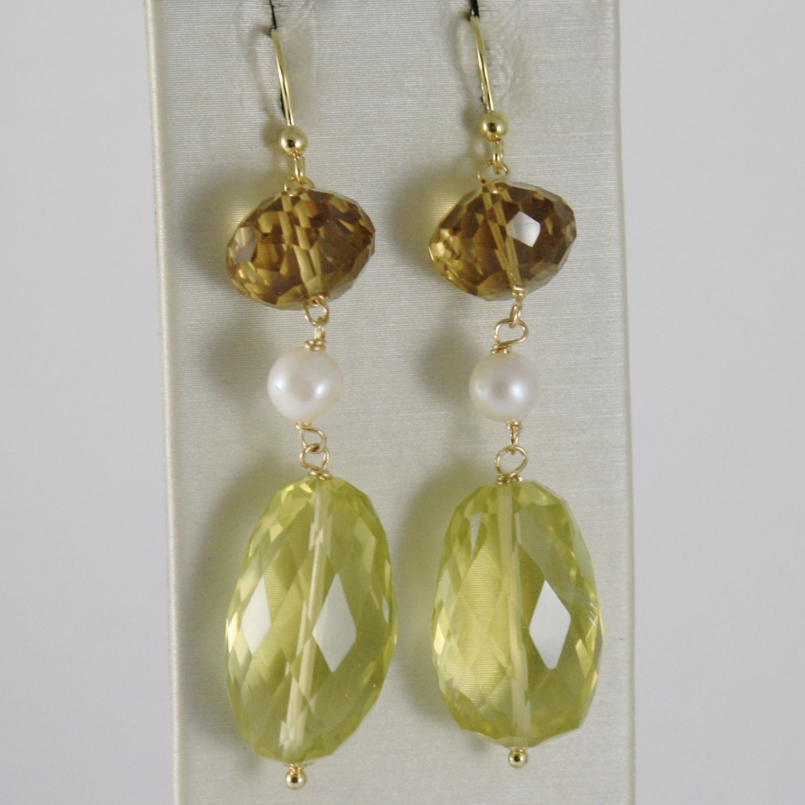 SOLID 18K YELLOW GOLD PENDANT EARRINGS CUSHION LEMON AND SMOKY QUARTZ, PEARLS
