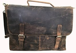 HLC 15 Inch Retro Buffalo Hunter Leather Laptop Messenger Bag Office Inches - $95.85