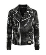 Men's PHILIPP PLEIN Leather Coat, Black Color Studded Embroidery Patches... - $299.97+
