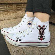Skull Coffin Flower Shoes Design Converse White Chuck Taylor All Star Sneakers - $119.00
