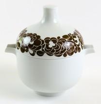 Rosenthal Studio-Linie Germany Vintage White Sauce Bowl & Lid w/ Brown Flowers   - $49.49