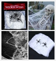 Spider Web Halloween Decoration Stretch 40g Cotton Spiders Large White W... - $8.99