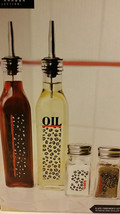 Glass Oil & Vinegar Salt & Pepper Dispenser Condiment Set With Cheetah D... - $8.91