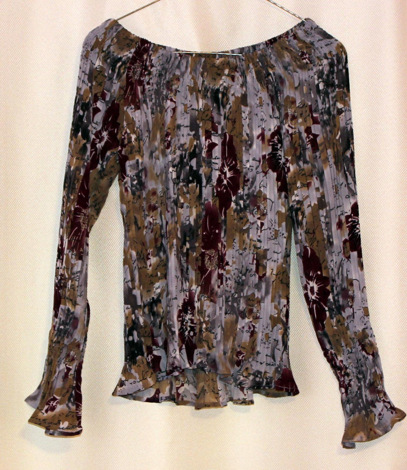 Dress-U Long Sleeve Multicolor Flower Off-shoulder Crinkled Pleated Top Blouse L image 2