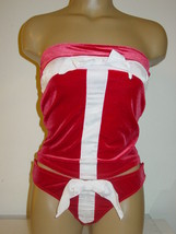 Fredericks of Hollywood white red velvet tube top thong set sides tear a... - $13.06