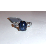 Blue Star Sapphire Oval & Blue Sapphire Round Ring, Silver, Size 6, 5.77... - $99.99