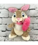Disney Store Bambi Thumper Miss Bunny Rabbit Plush Brown Pink Bow Stuffe... - $14.84