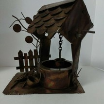 Wishing Well Wind Up Vintage Metal Copper sculpture Music box Country, R... - $15.35