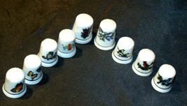 9 Porcelain Thimbles of Birds, Flowers and Butterfly's AB 273a Vintage image 5