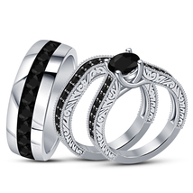 Diamond Trio Set His Hers Matching Engagement Ring Wedding Band White Go... - $152.99