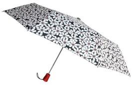 """Totes Automatic Umbrella 42"""" White Flower Auto Open Rain Sun Travel Comp... - $9.49"""