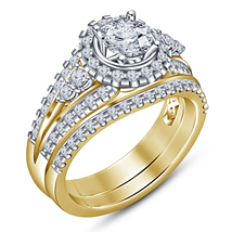 18k Yellow Gold Plated Pure 925 Silver Round Cut Diamond Bridal Wedding Ring Set - $104.78