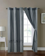4-Pc Sabri Floral Vine Scroll Embroidery Curtain Set Gray Silver Sheer Grommet - $40.89