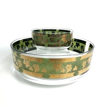 Vintage Cera Glass Chip & Dip Bowls Golden Grapes Green Pattern Mid Century - $39.34