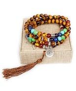 Leefi Mala Beads,108 Tiger Eye Gemstone Stone Wrist Mala Bracelet Neckla... - $25.94