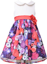 Bonnie Jean Little Girl 4-6X Satin To Floral Shantung Collar Dress