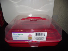 CUPCAKE HOLDER  HOLDS 9 CUPCAKES -WITH CARRY HANDLE-RED PLASTIC-CARRIER - $5.89