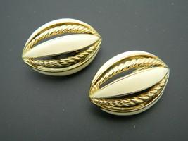CROWN TRIFARI TM 1970s Gold Tone Ivory Colored Enamel Clip Earrings Oval - $29.70