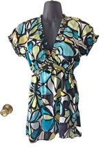 Womens Yellow and Blue Floral Geometric Babydoll Blouse Shirt Top Sz Med... - $29.99