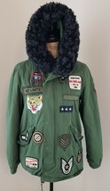 ZARA Woman Size XS Green Military Field Jacket w/ Patches Faux Fur Hood ... - $85.49