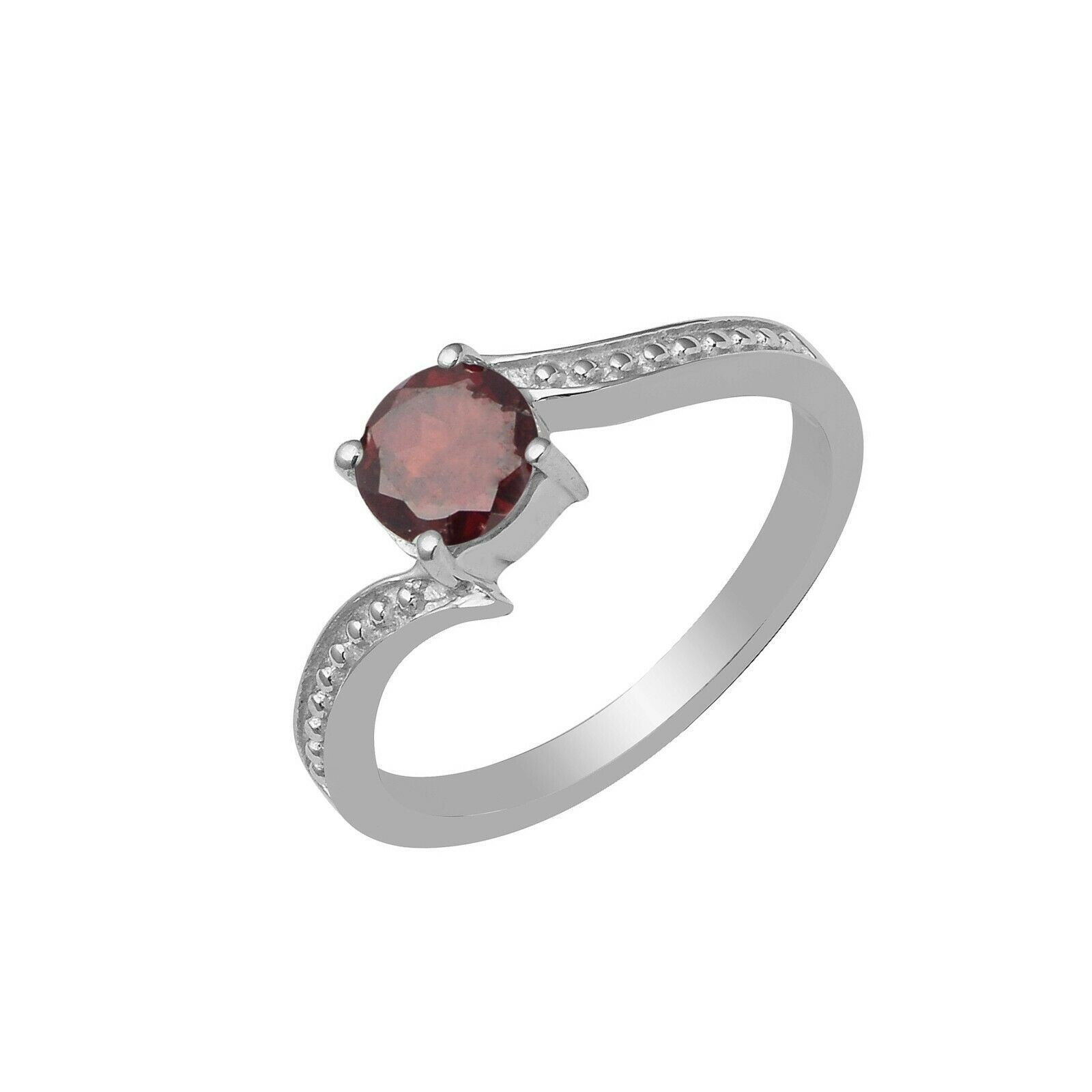 Solitaire Ring|| Solid 925 Fine Silver Red Garnet White Topaz Split Band Ring