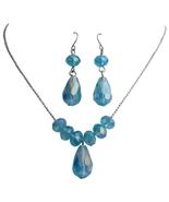 Aquamarine Crystals Necklace Pendant Earrings Jewelry Sets Girls Women B... - $11.99+
