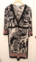 Liz Lange Maternity Dress Size Medium M Black Paisley 3/4 sleeve geometric - $19.77