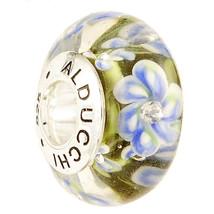 Alducchi  Green - Blue  Floral  Murano Glass .925 Silver European Charm ... - $15.95