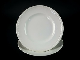 "Wedgwood & Co Hedge Rose Dinner Plates 2 pc Set, Vintage England White 9 7/8"" - $19.60"