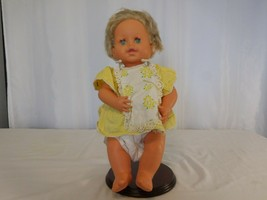 "IDEAL Vintage Rub a Dub Baby  Doll 16"" Tall with Vintage Yellow Outfit Blue Eyes - $22.79"