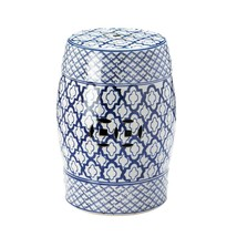 Decorative Ceramic Stool, White Background Outdoor Ceramic Garden Stool - £80.73 GBP