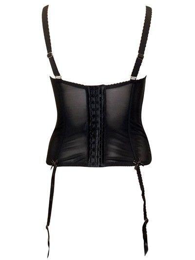 Bravissimo bra Black Satin Boned Basque with Suspenders and silver trim 28H uk