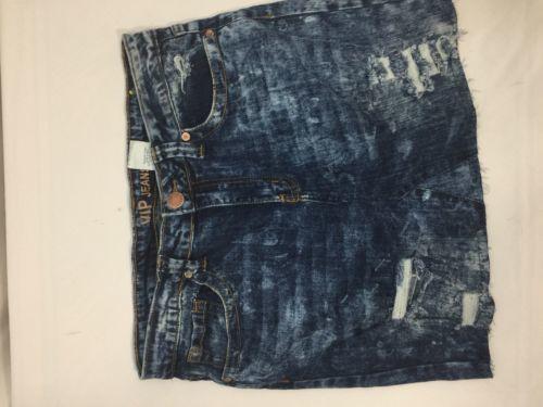 Vip Jeans Acid Wash Skirt Above Knee Regular Fit   Blue Cotton Size 11/12