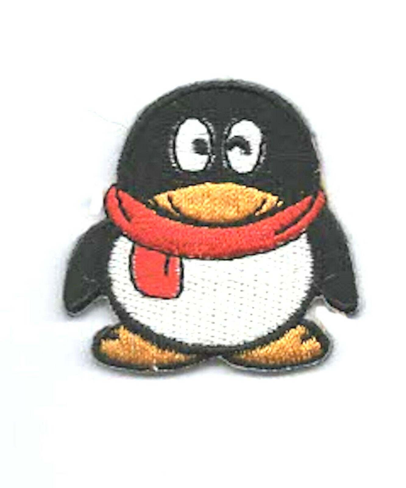 red scarf penguin embroidered iron / sew on patch