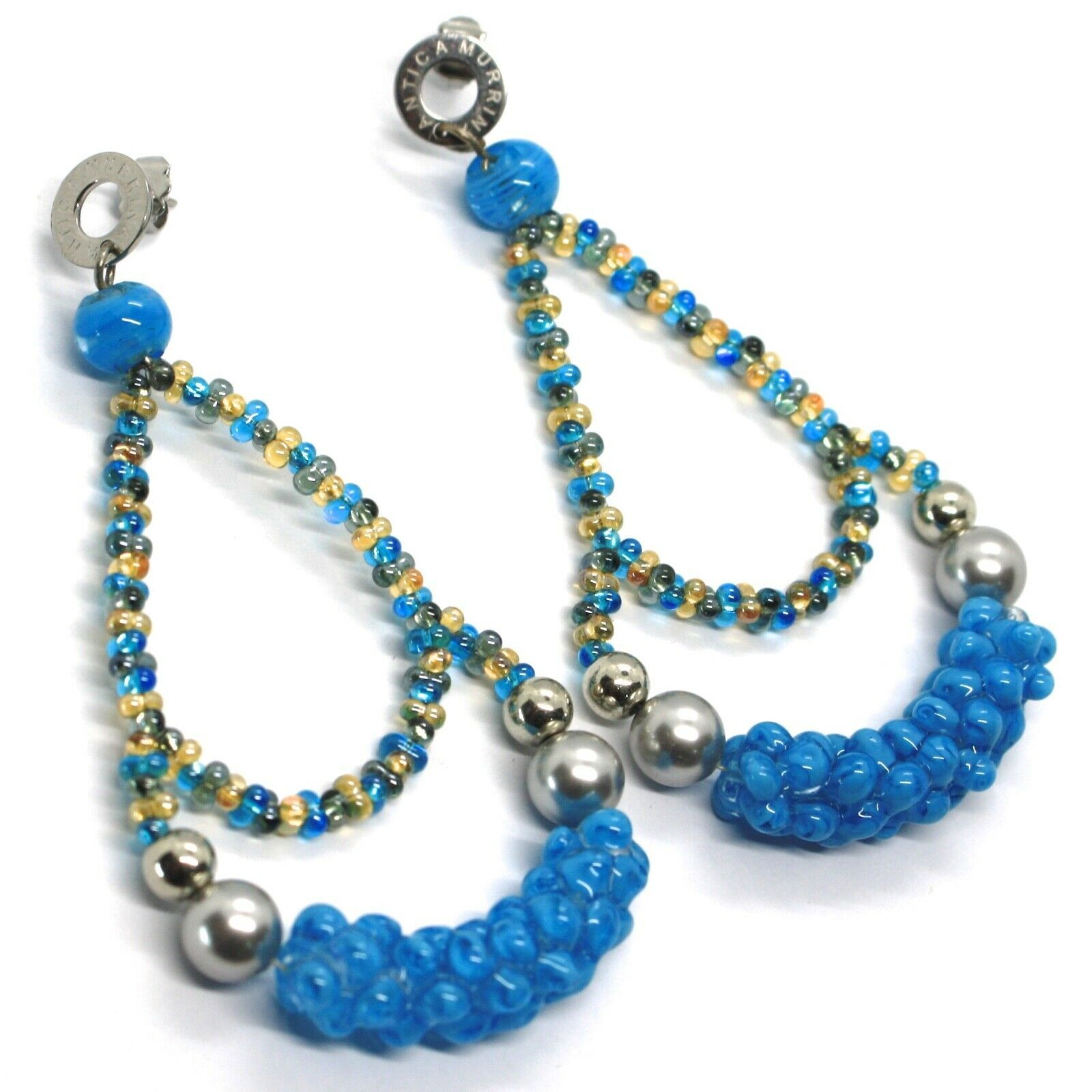 Earrings Antica Murrina Venezia, Hanging, Double Drop Big Blue, 8.5 CM