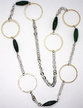 925 Silver Necklace, Jade Green, Yellow Circles, 100 CM, Rolo hammer image 2