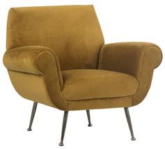 Mid Century Retro Mustard Velvet Upholstered Chair,37'' X 33''H - $1,138.50