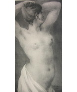 NUDE Young Beauty Fresco - VICTORIAN Lichtdruck Antique Print - $6.74