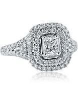 1.27 Carat Radiant Cut F-VS2 Diamond Engagement Ring Split Shank 18k Whi... - $2,176.96