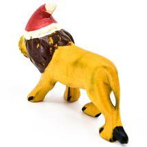 Hand Carved & Painted Jacaranda Wood Santa Hat Lion Safari Christmas Figurine image 3