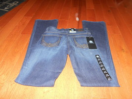 *NWT* ROCK & REPUBLIC Jeans Bootcut Gold Toned RR Rhinestones size 0 M S... - $18.80