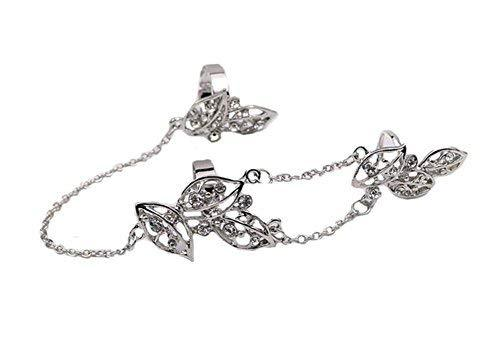 Fashion Personality Bracelet Jewelry Finger Rings And Chains, Silver Flower